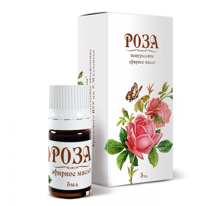 Эфирное масло Розы 5 мл в белой коробке